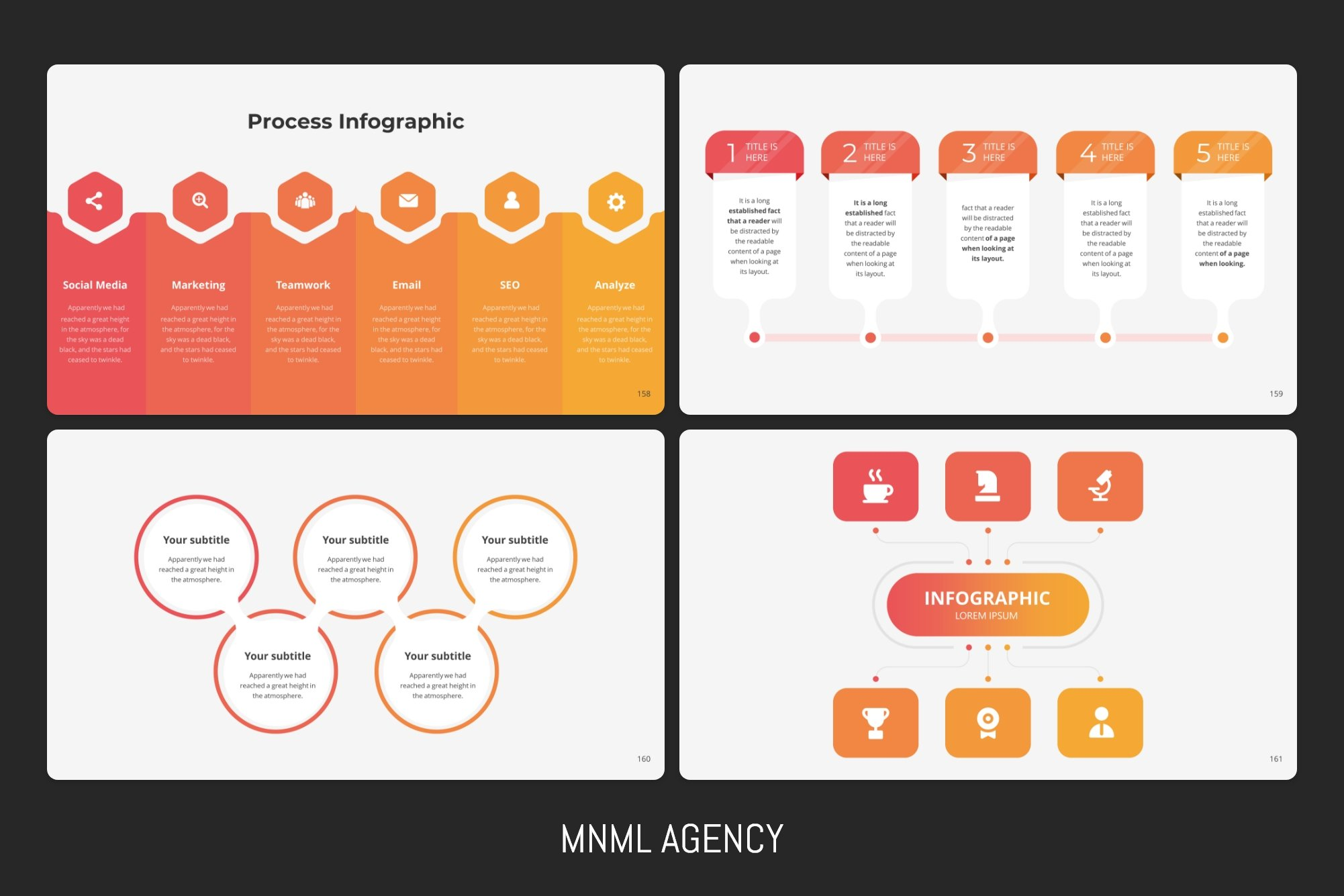 Infographics elements in red color.