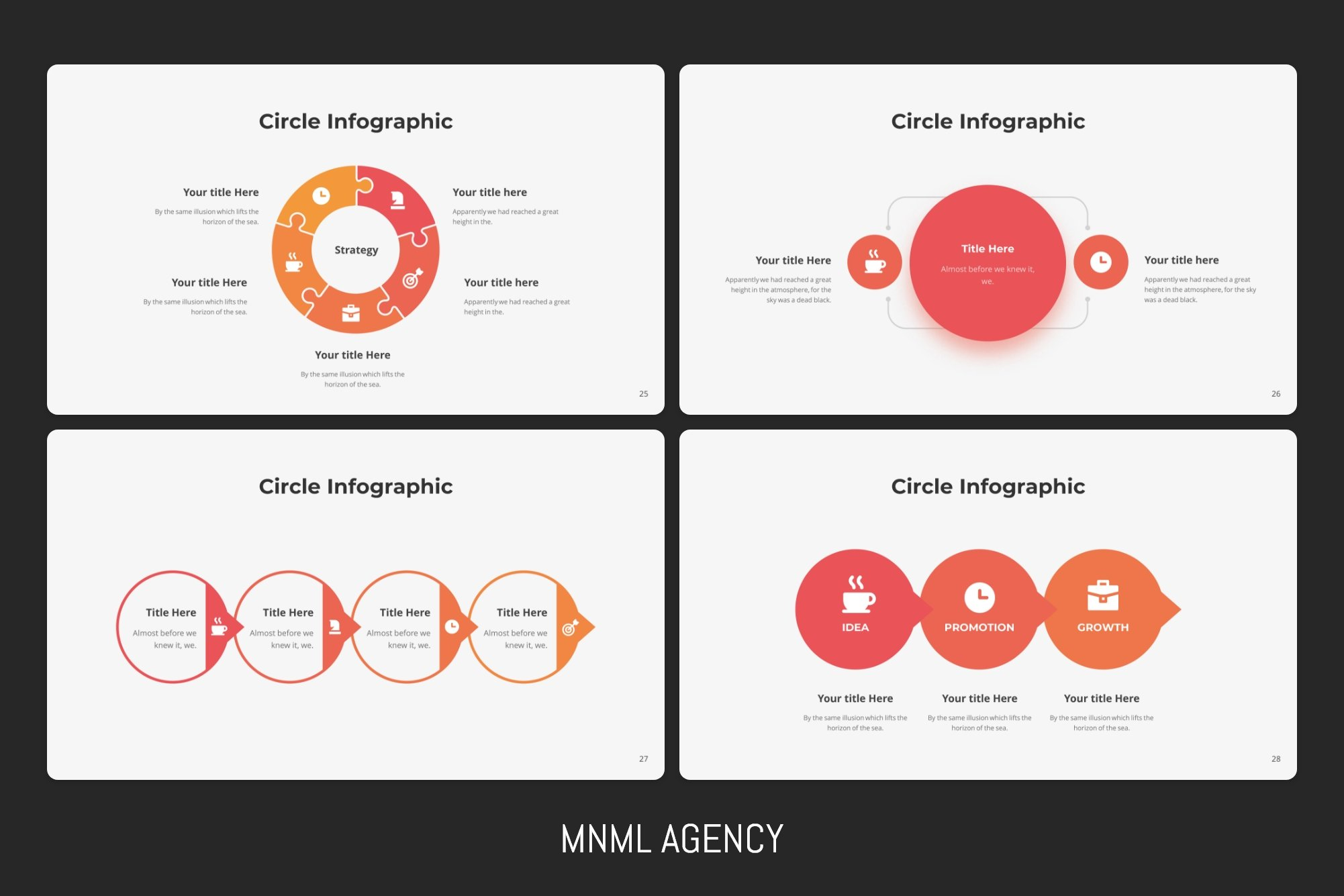 The classic display of infographics in this template has been modified and presented in a modern business environment.