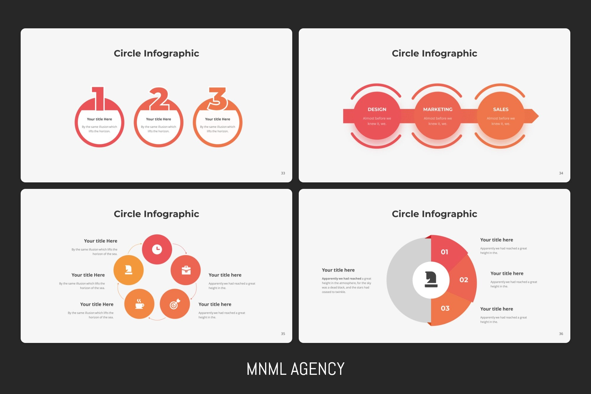Colored circular infographics contain a lot of information and give it out in a simple way.