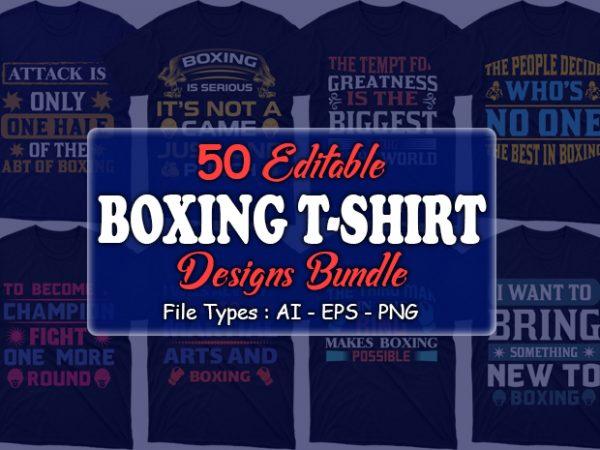 Title slide of boxing t-shirt designs.
