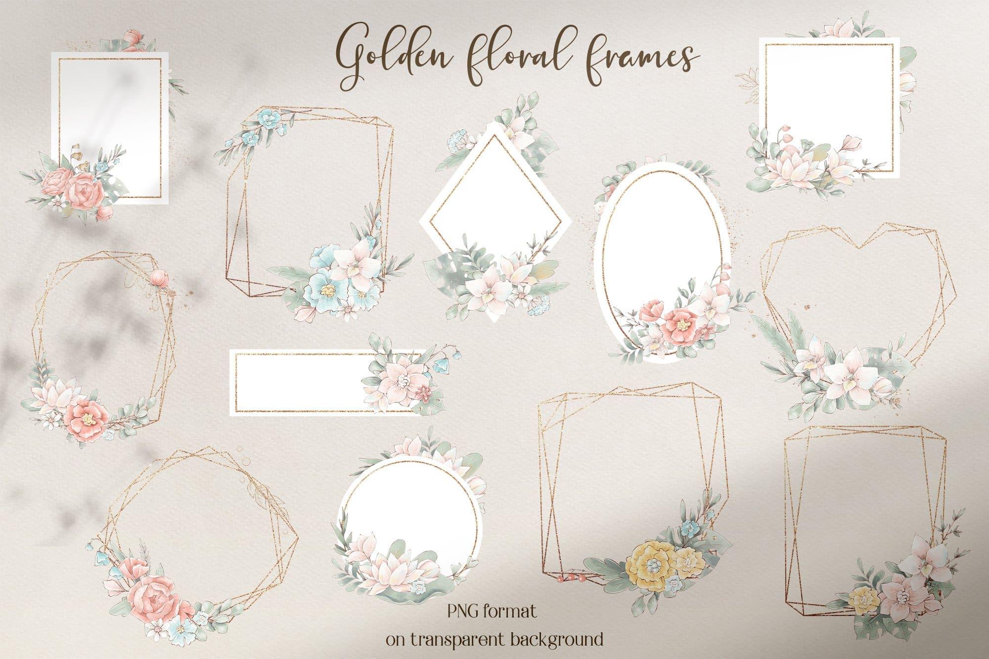 Golden floral frames.