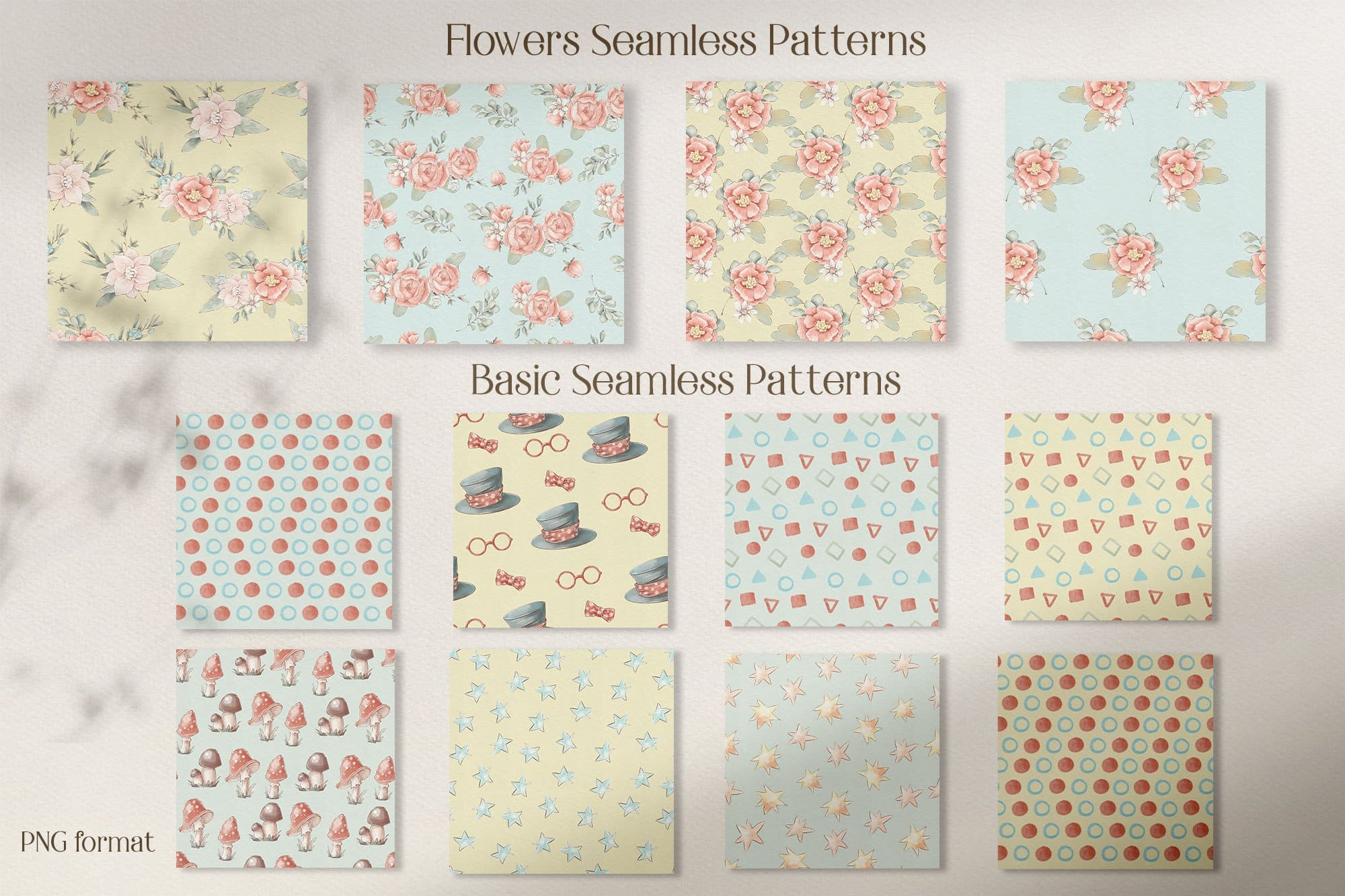 Flowers and basic seamless patterns.
