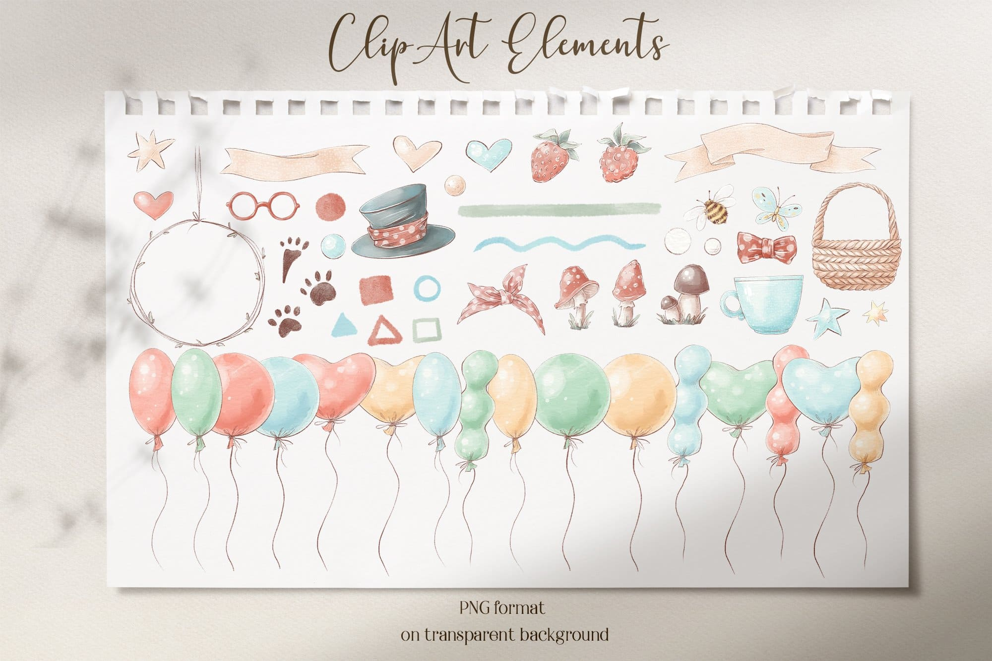 Clip art elements of Cute Woodland Animals Clipart.