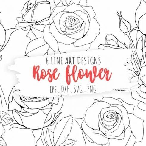 Rose Flower Line Art Illustrations Blooming Line Art Example.