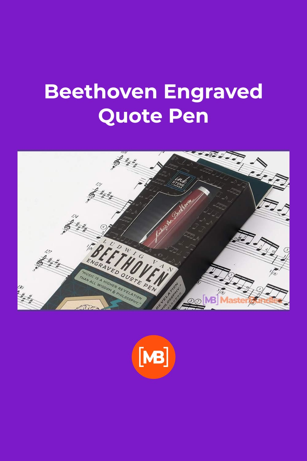 Beethoven Engraved Quote Pen. Gifts for Musicians.