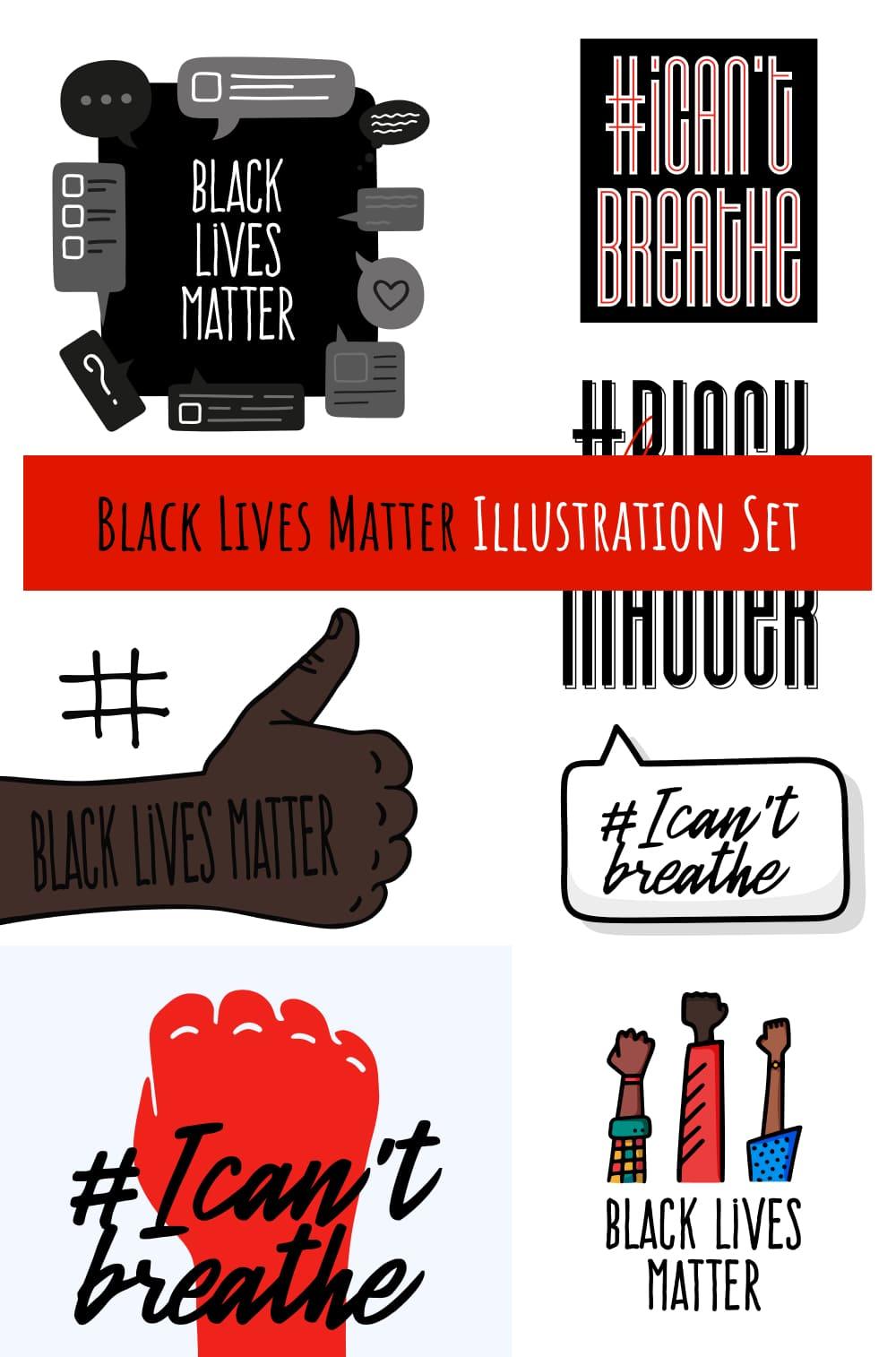 Black Lives Matter Illustration Set Pinterest.