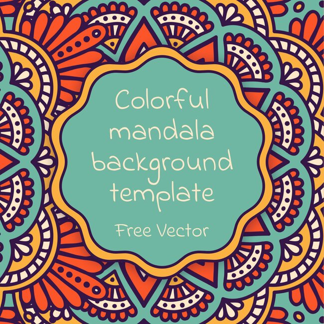 01 Colorful mandala background template Free Vector 1100x1100 1