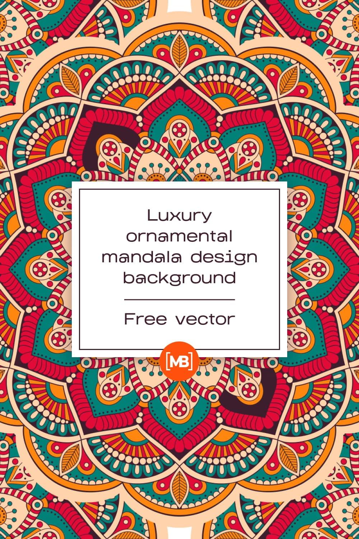 Pinterest Example image with Luxury ornamental mandala design background Free Vector.