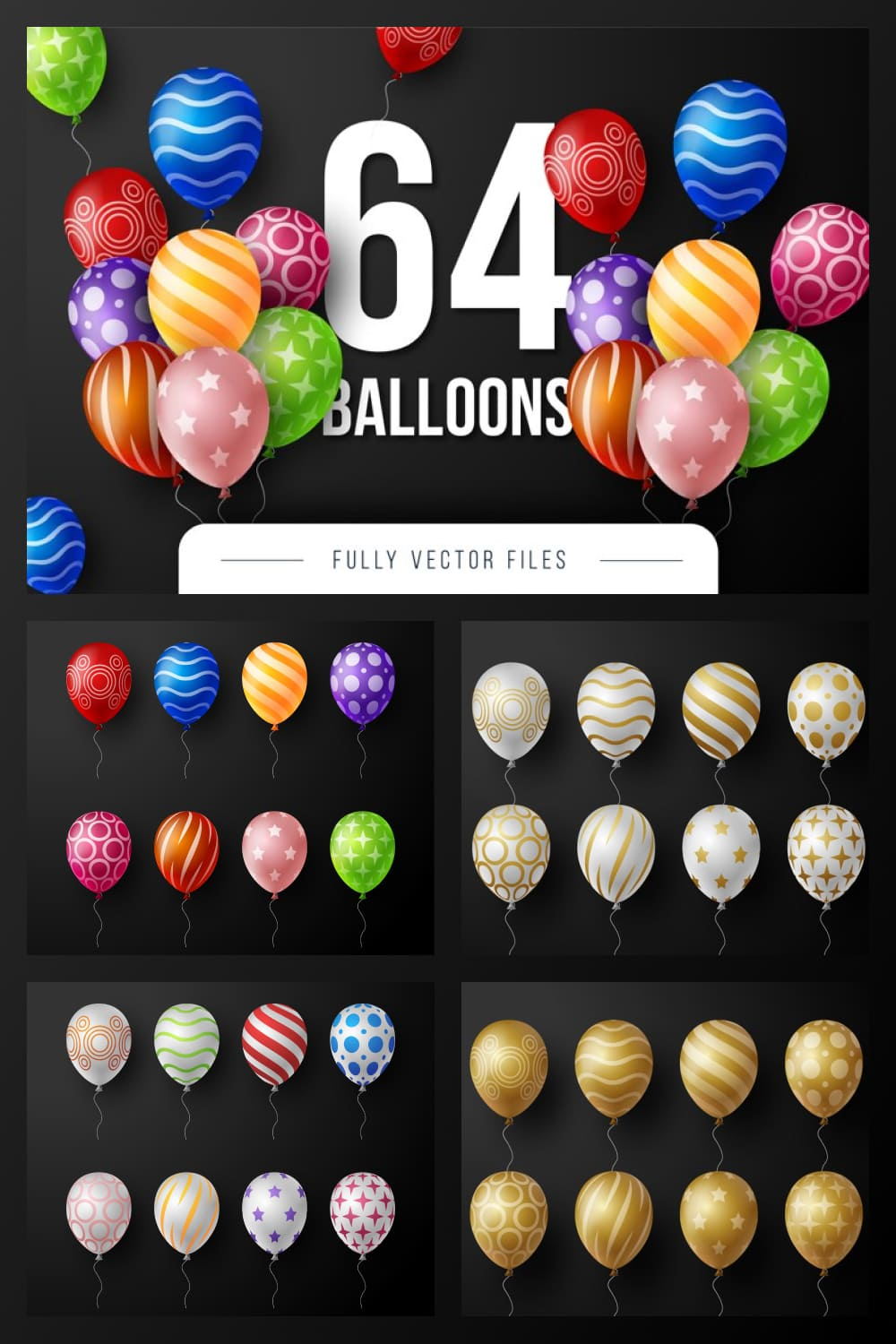Gold balloons with prints and other colors.
