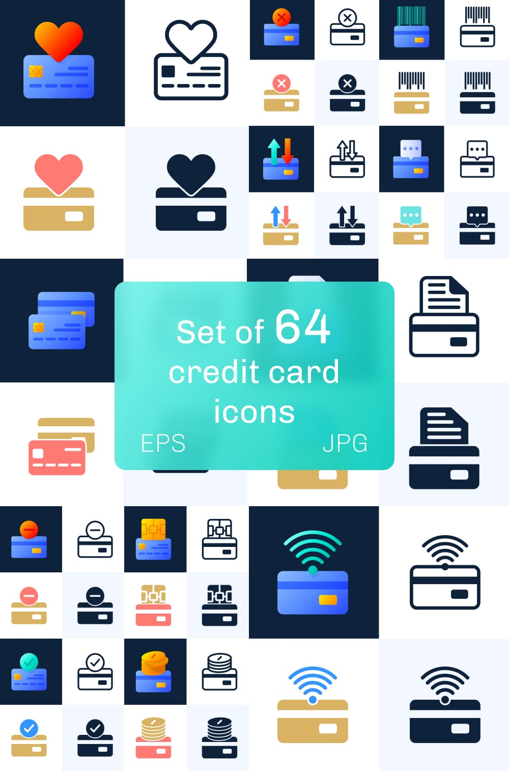 Set of 64 Credit Card Icons Pinterest.
