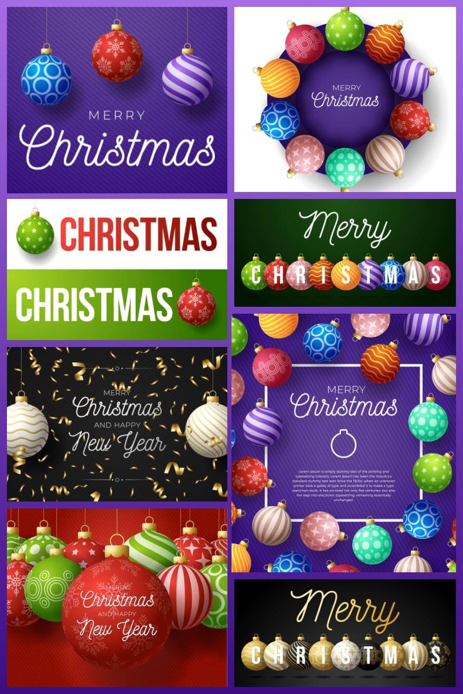 Bright Christmas design of Christmas tree decorations.