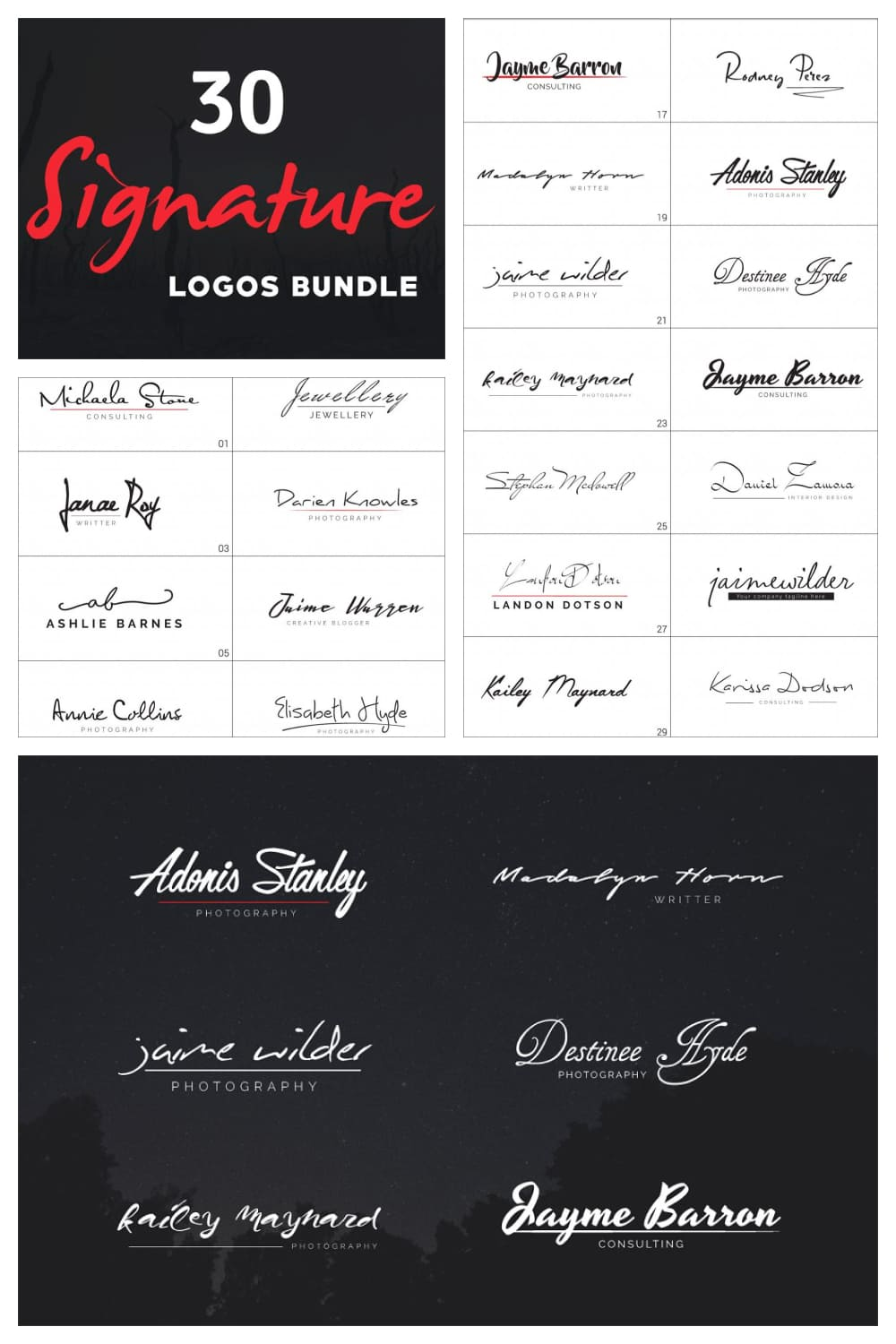 There are two types of logo signatures - white and black.