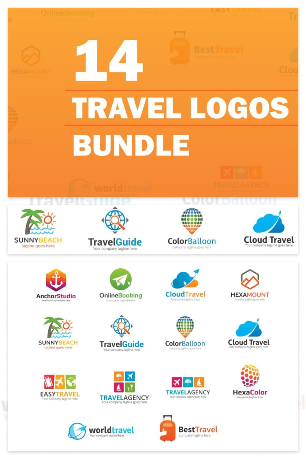 Each logo contains an illustration and a font in a color scheme with graphics.
