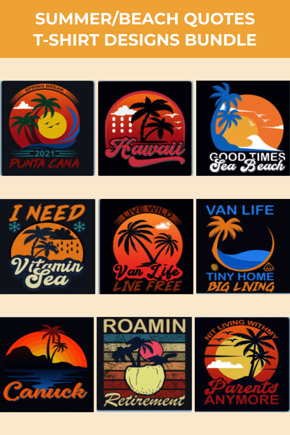 Several illustration options for T-shirts.