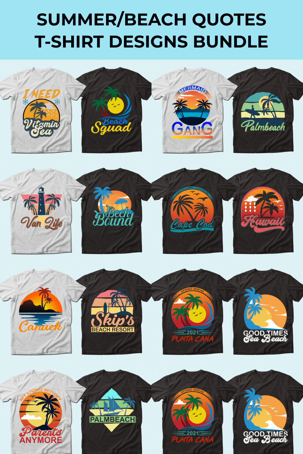 Set of white and black t-shirts with summer sunsets.