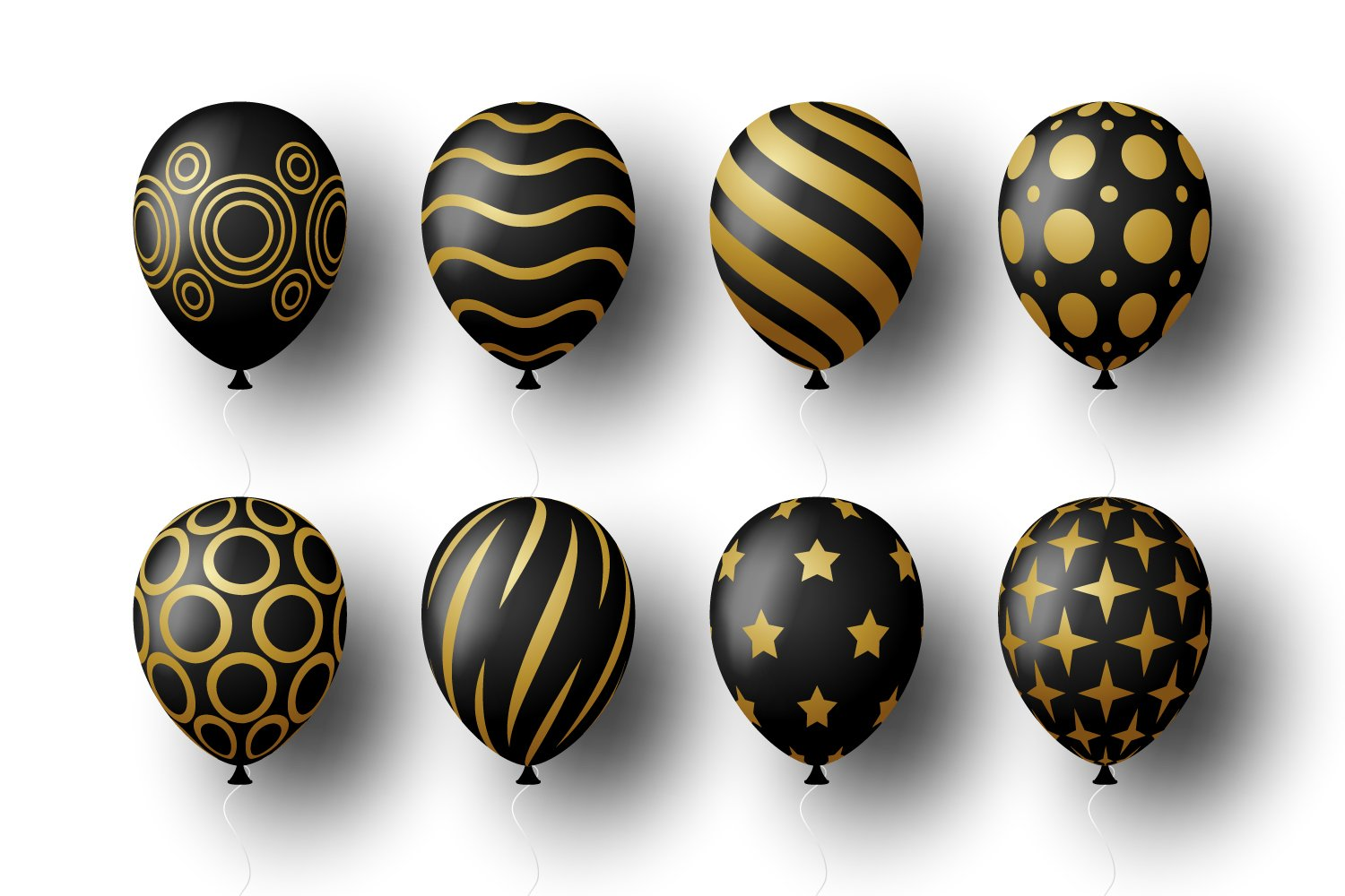 White background, black balls with gold ornaments.