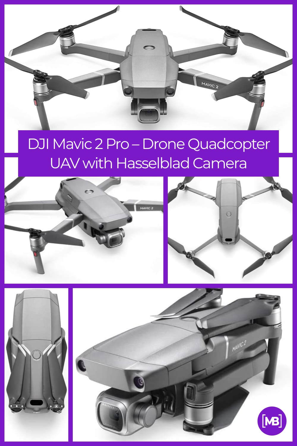 """Equipped with a Hasselblad L1D-20c camera with a 20MP 1"""" CMOS Sensor, the Mavic 2 camera drone lets you capture gorgeous aerial shots in stunning color detail."""