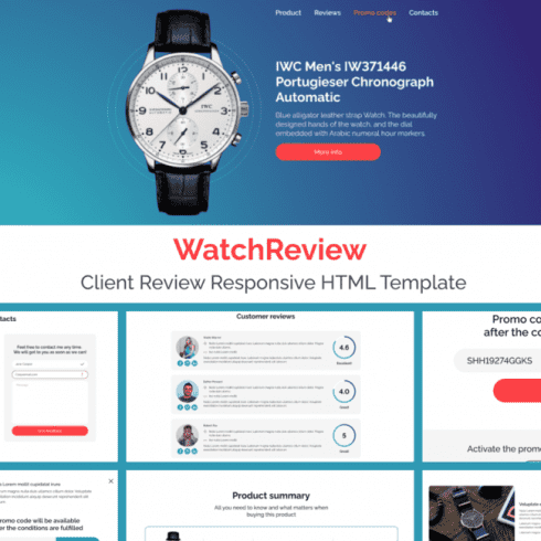 WatchReview – Free Client Review Responsive HTML Template Example.