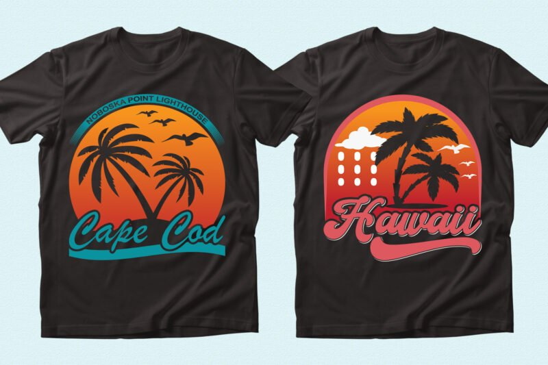 Two black t-shirts with sunset graphics.
