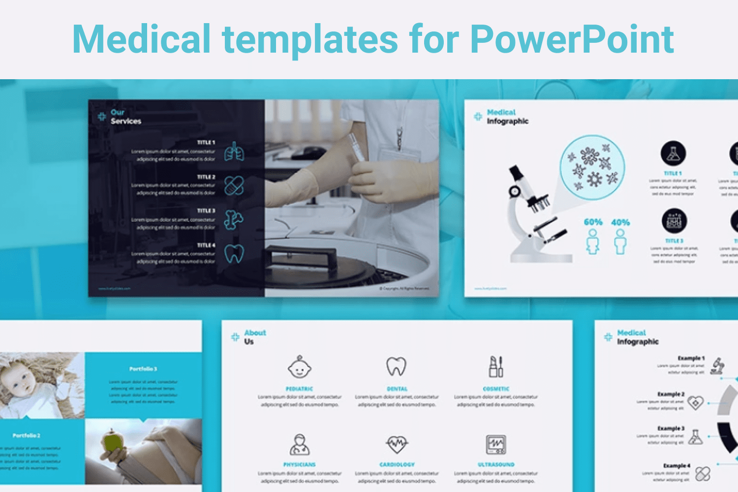 Blue template with a collection of medical icons that will dilute the text of the presentation.