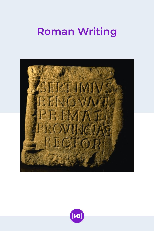 Roman writing.