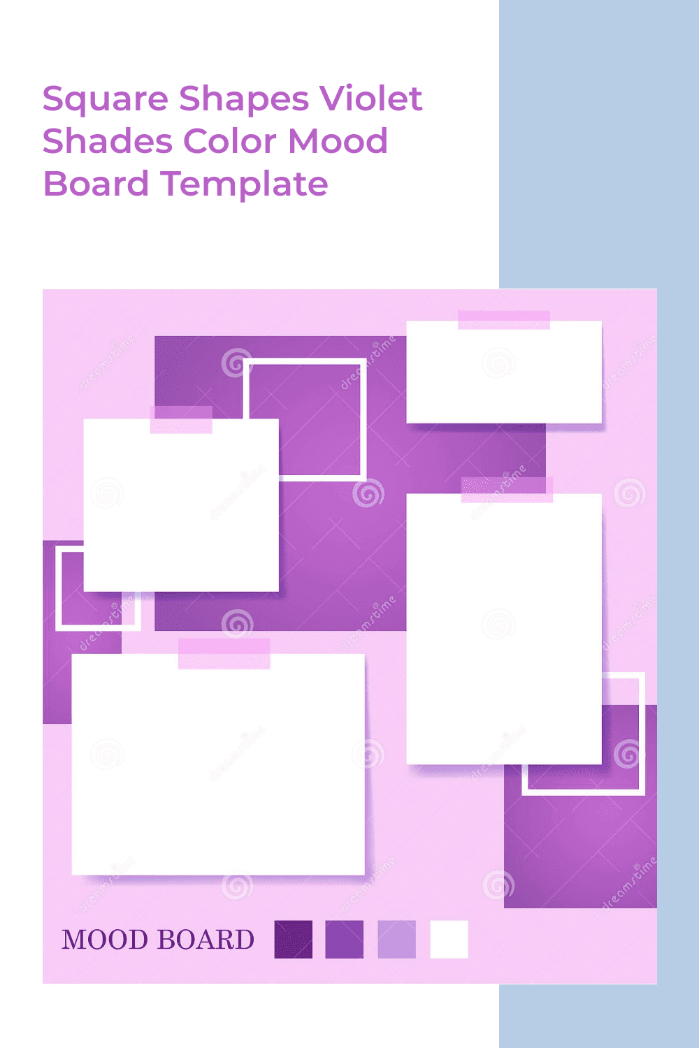 The violet color palette with squares gives you the opportunity to add everything you want.