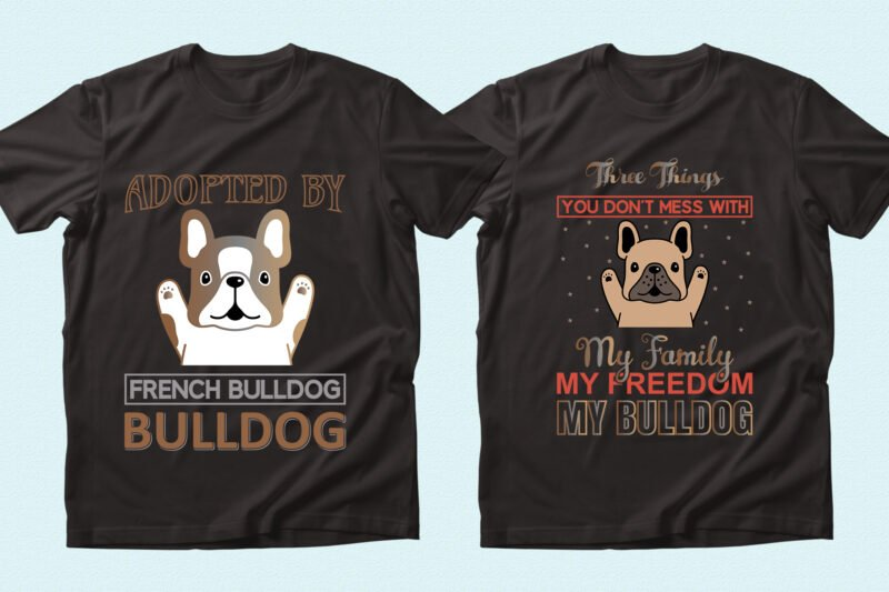 Funny and happy brown bulldogs.