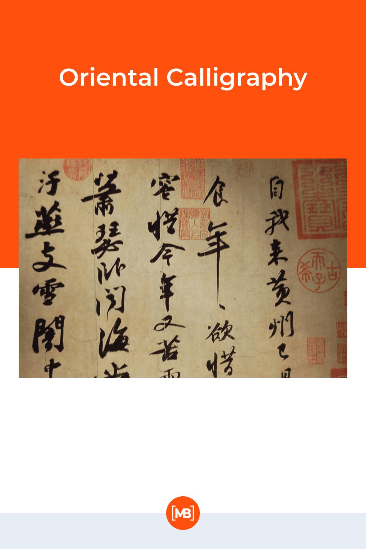 Oriental calligraphy.