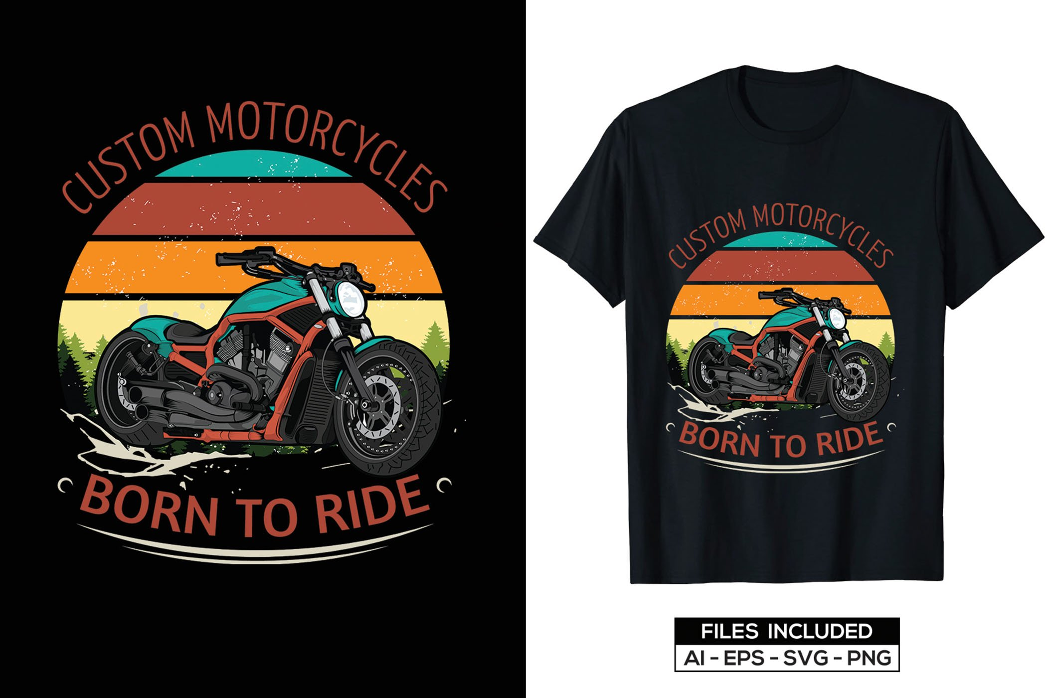 Very colorful graphics with stylish font on a black T-shirt.