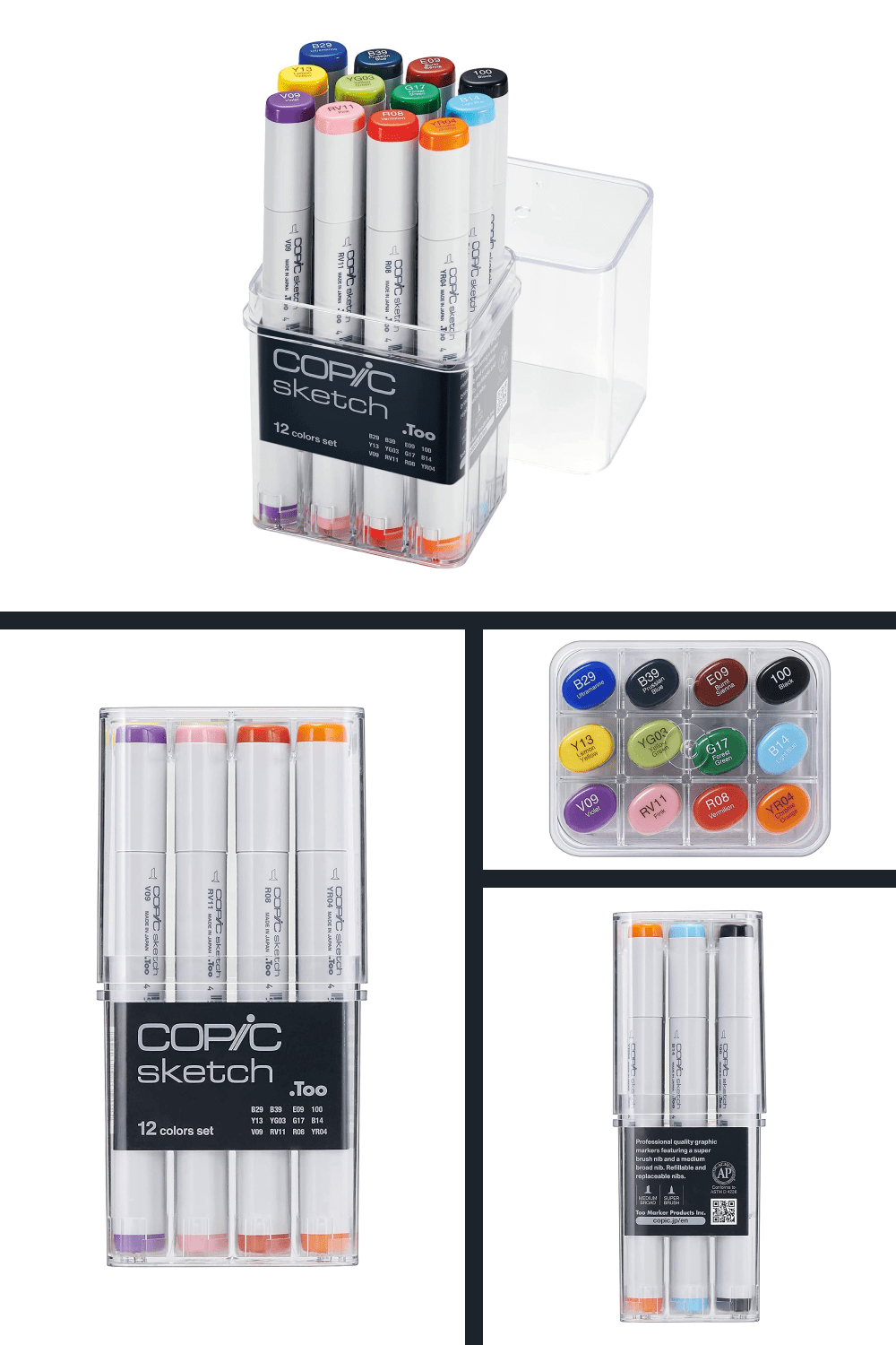 Packaged in a clear plastic case, a sketch set is the ideal way to begin or add to a marker collection.