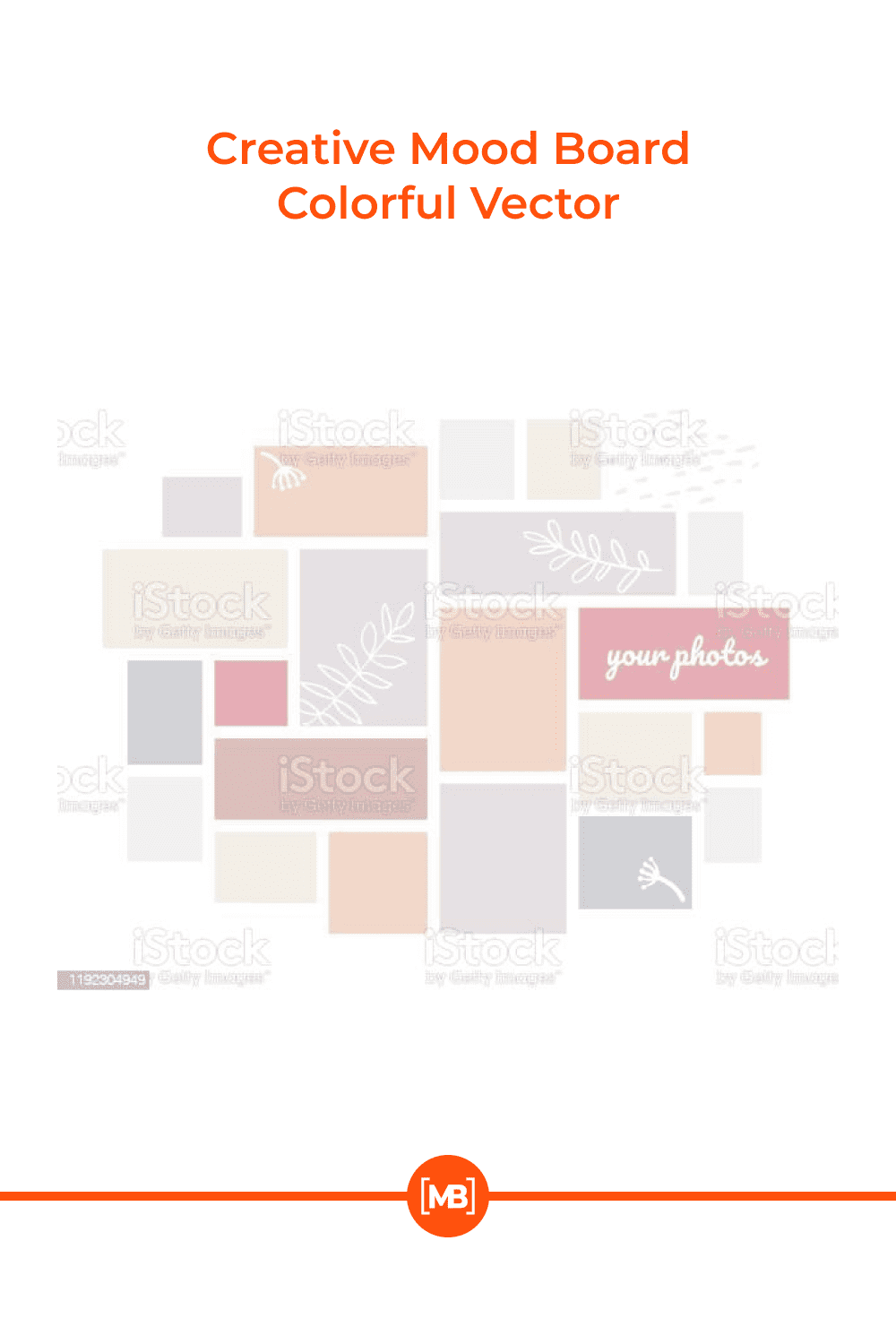 Creative mood board - colorful vector background template on white background.