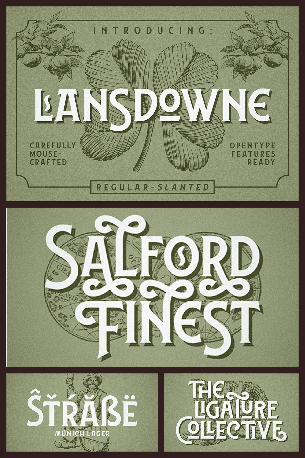 This font give you strong, sharp, yet clean feel without sacrificing its vintage and classic touch.