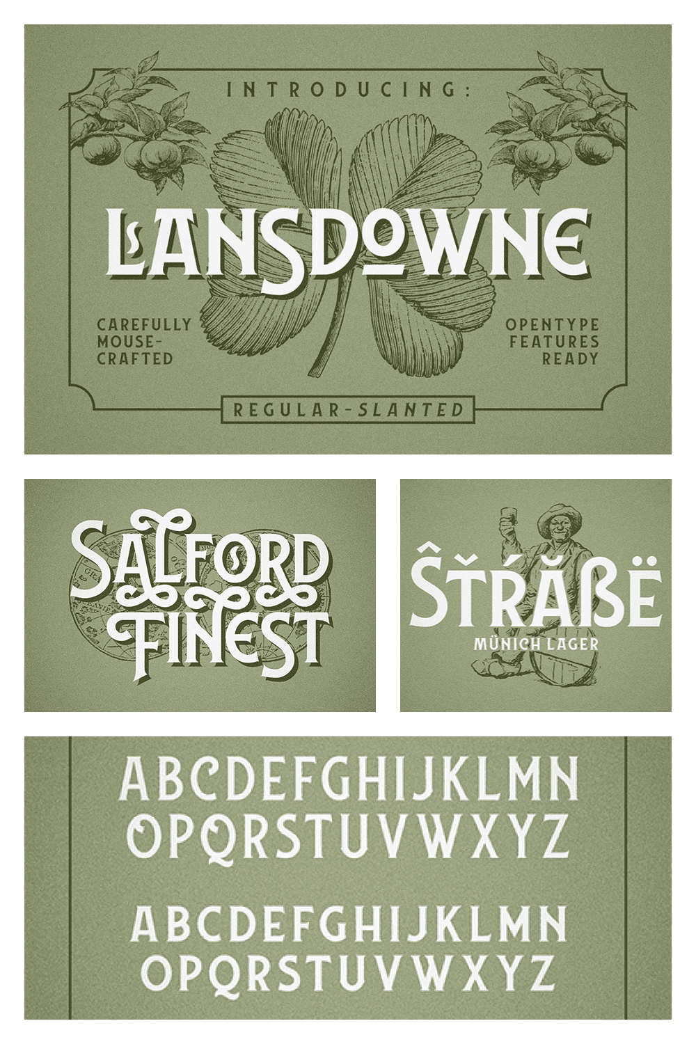 It's the perfect blend between clean and vintage themed type work, inspired by the old advertisement letters.