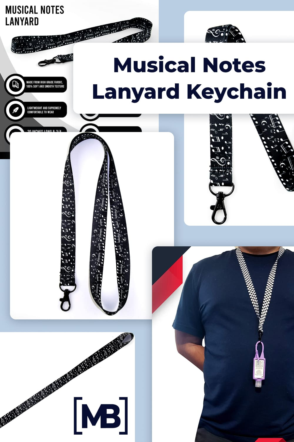 Musical notes lanyard keychain.