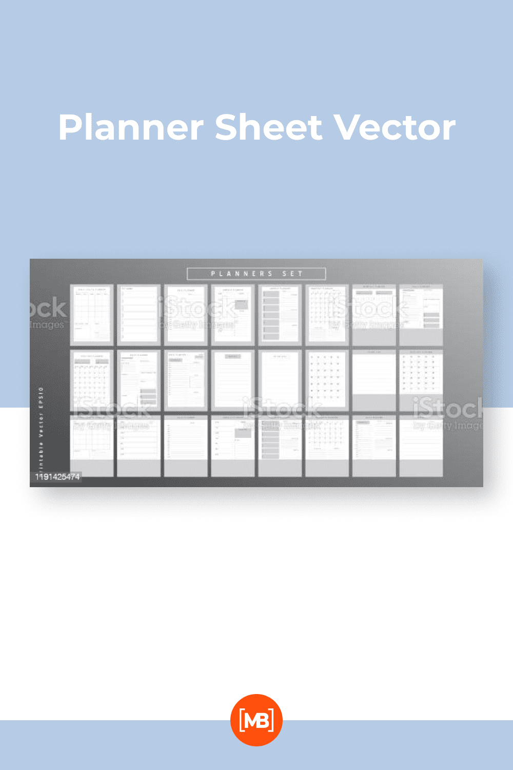 Set of minimalist monochrome abstract planners.