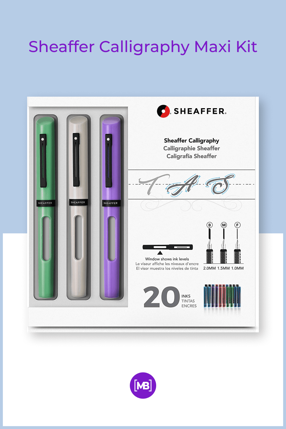 Three modern calligraphy pens with glossy resin finishes in neo-mint, white, and lavender.