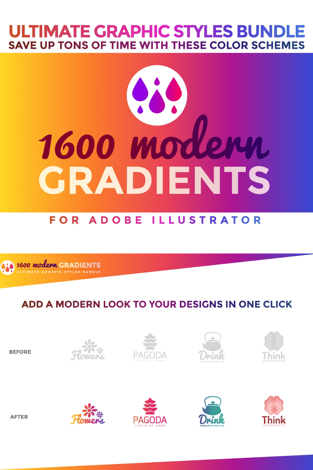 Give a modern look to your artwork with no effort, just click and find your favourite color scheme in our gradients graphic styles collection.