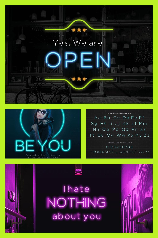 Stylish neon font.