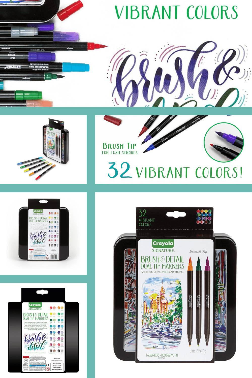 These Dual-Ended markers feature a brush tip & Ultra-fine tip for thick and thin lines.
