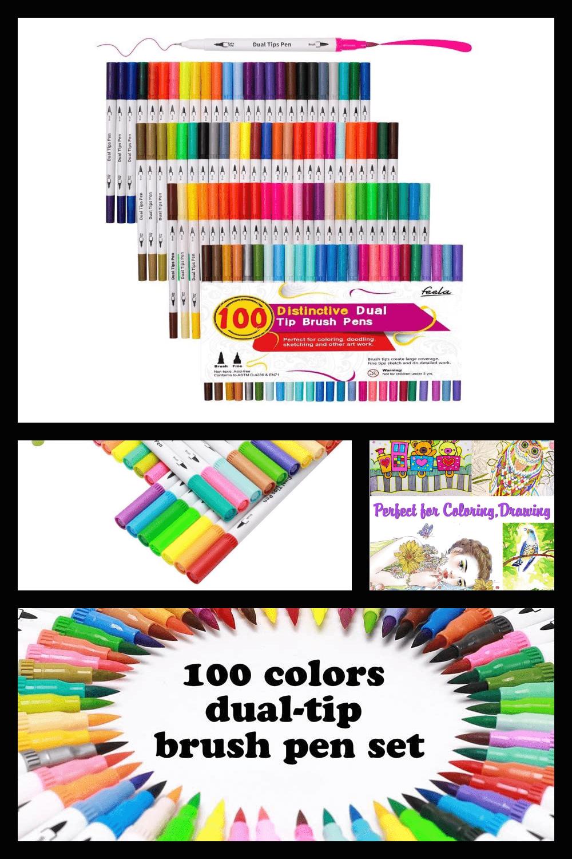 Colors dual tip brush pens.