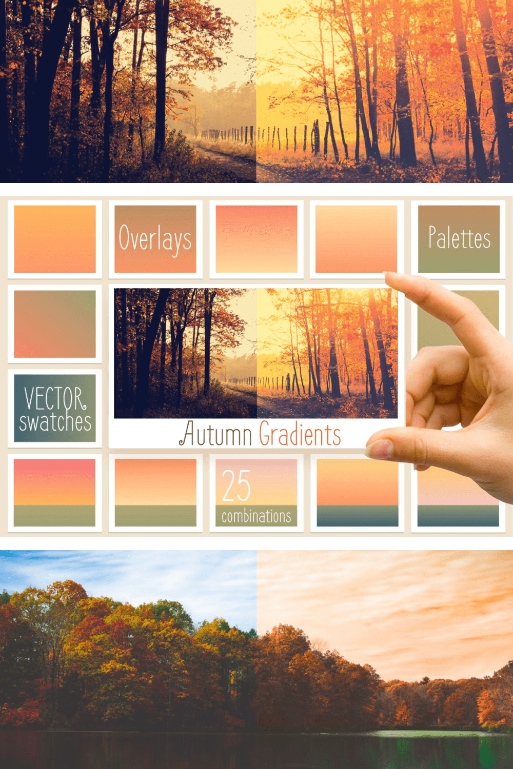 Autumn colors are conveyed through a gradient.