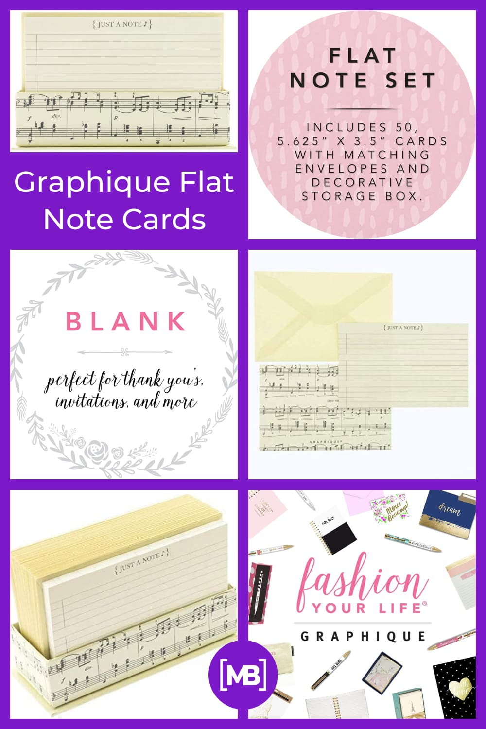 Graphique flat note cards.