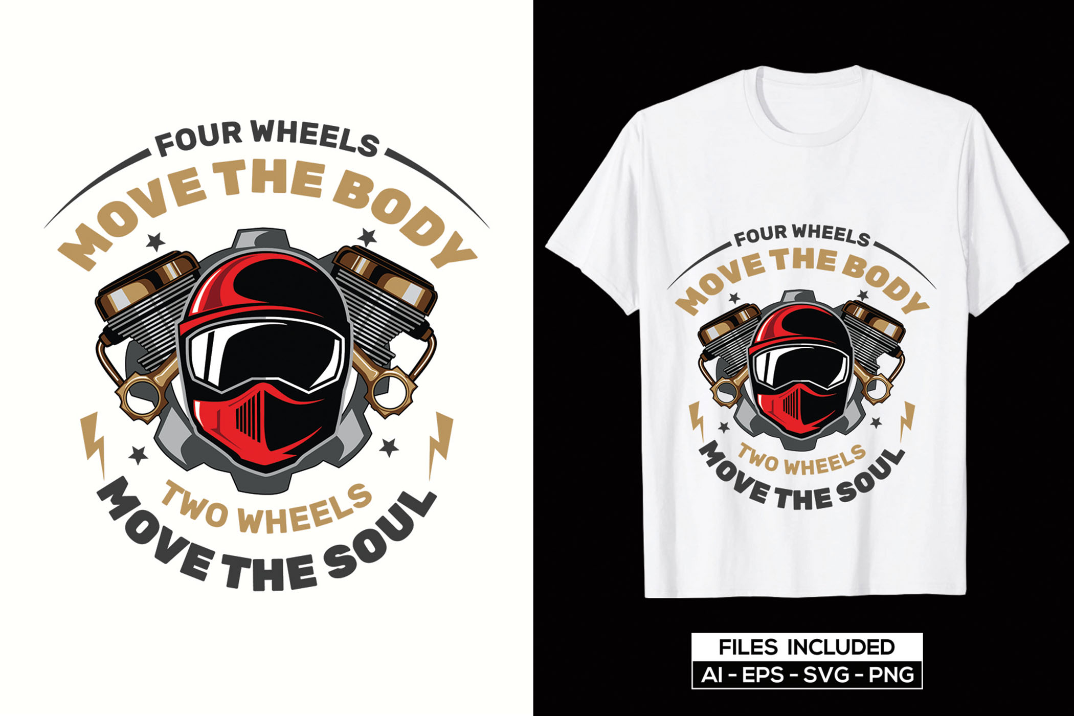 White quality t-shirts with motorcyclist.