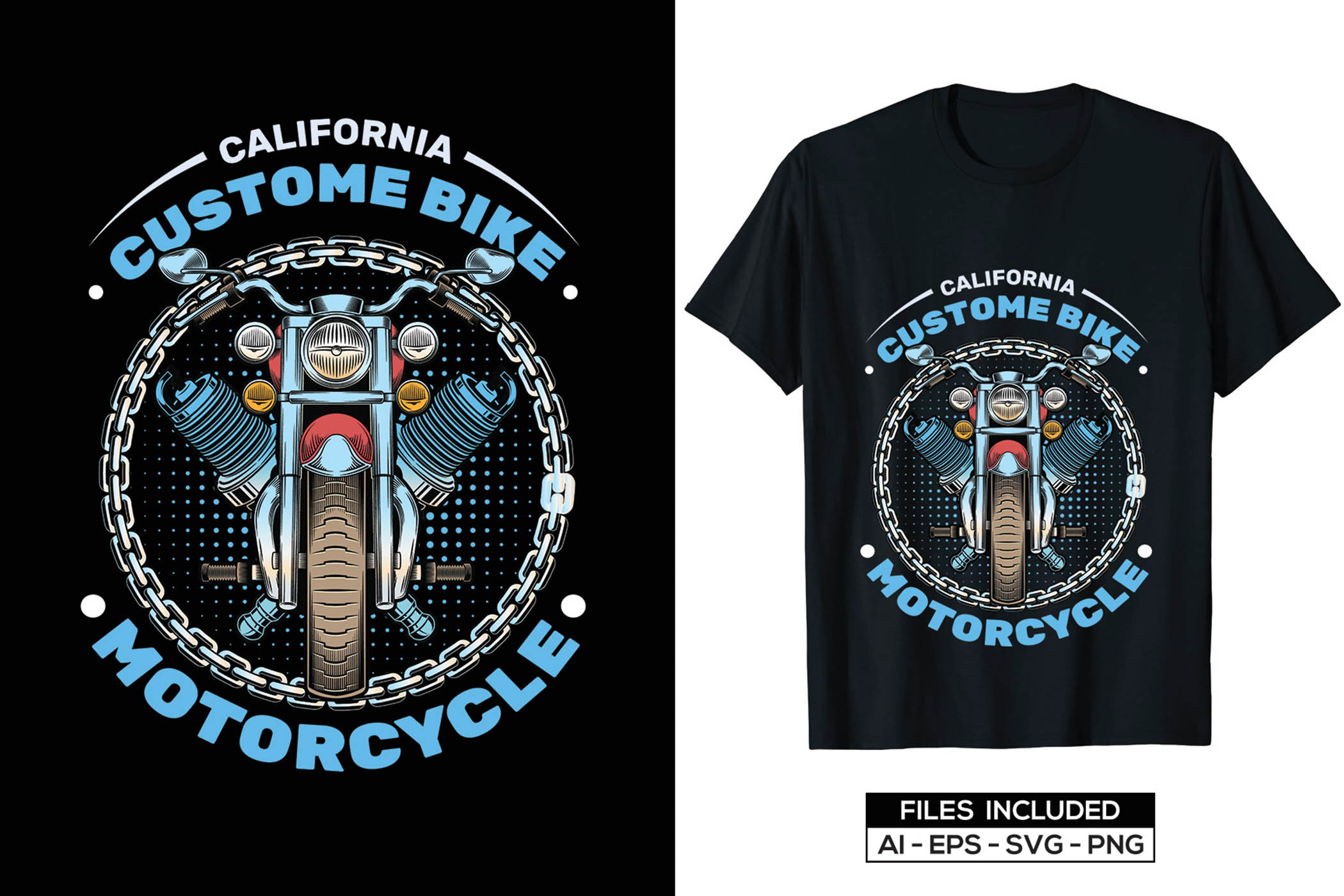It's a California t-shirt style with blue motorcycle illustration.