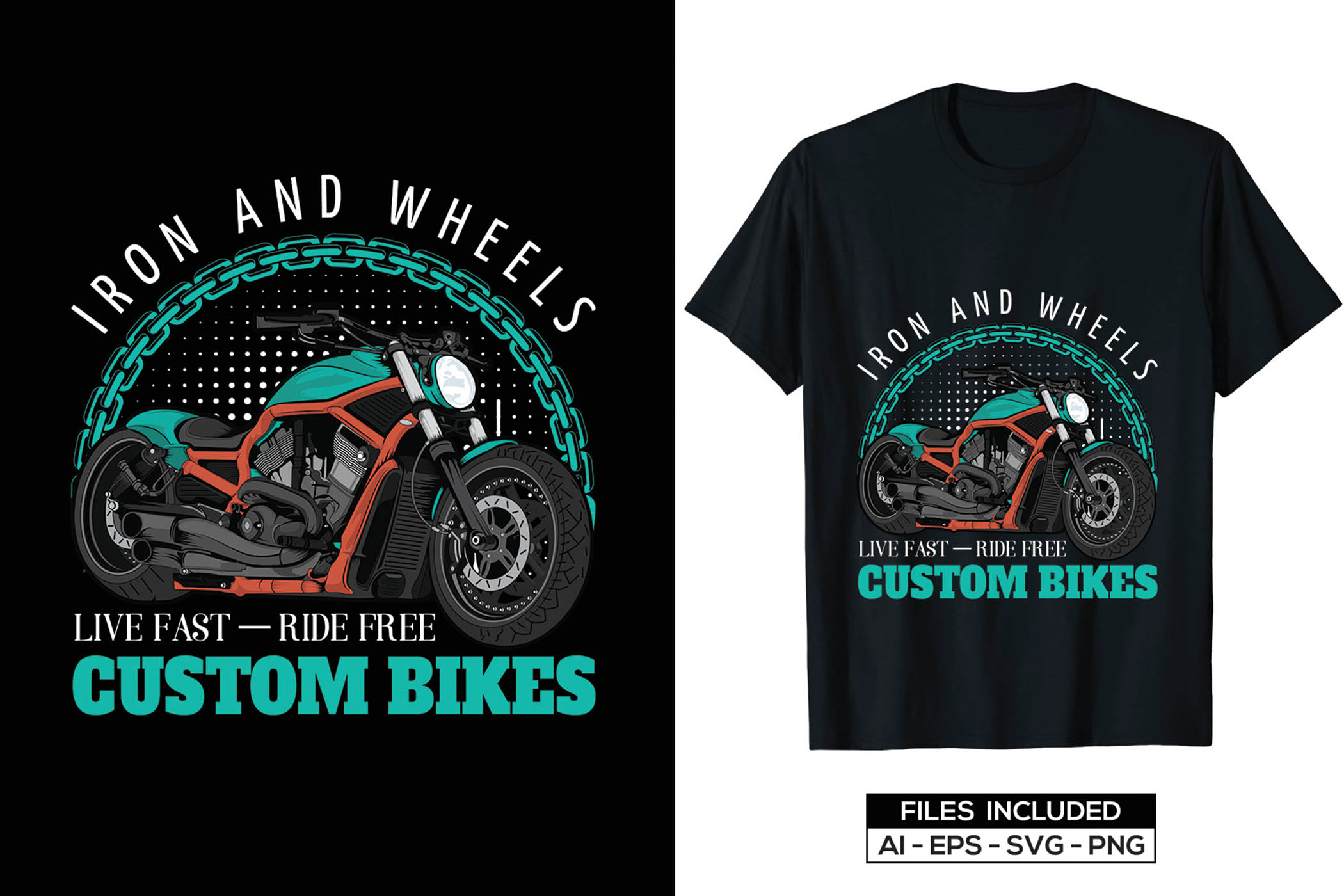 Black t-shirts with laconic graphic of green motorcycle.