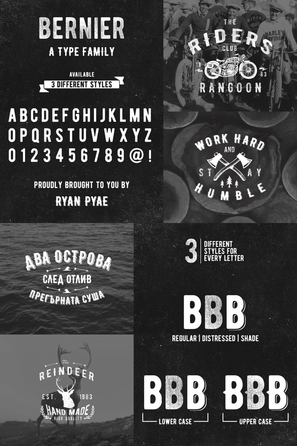 A vintage typeface that will look cool on textiles and glass.