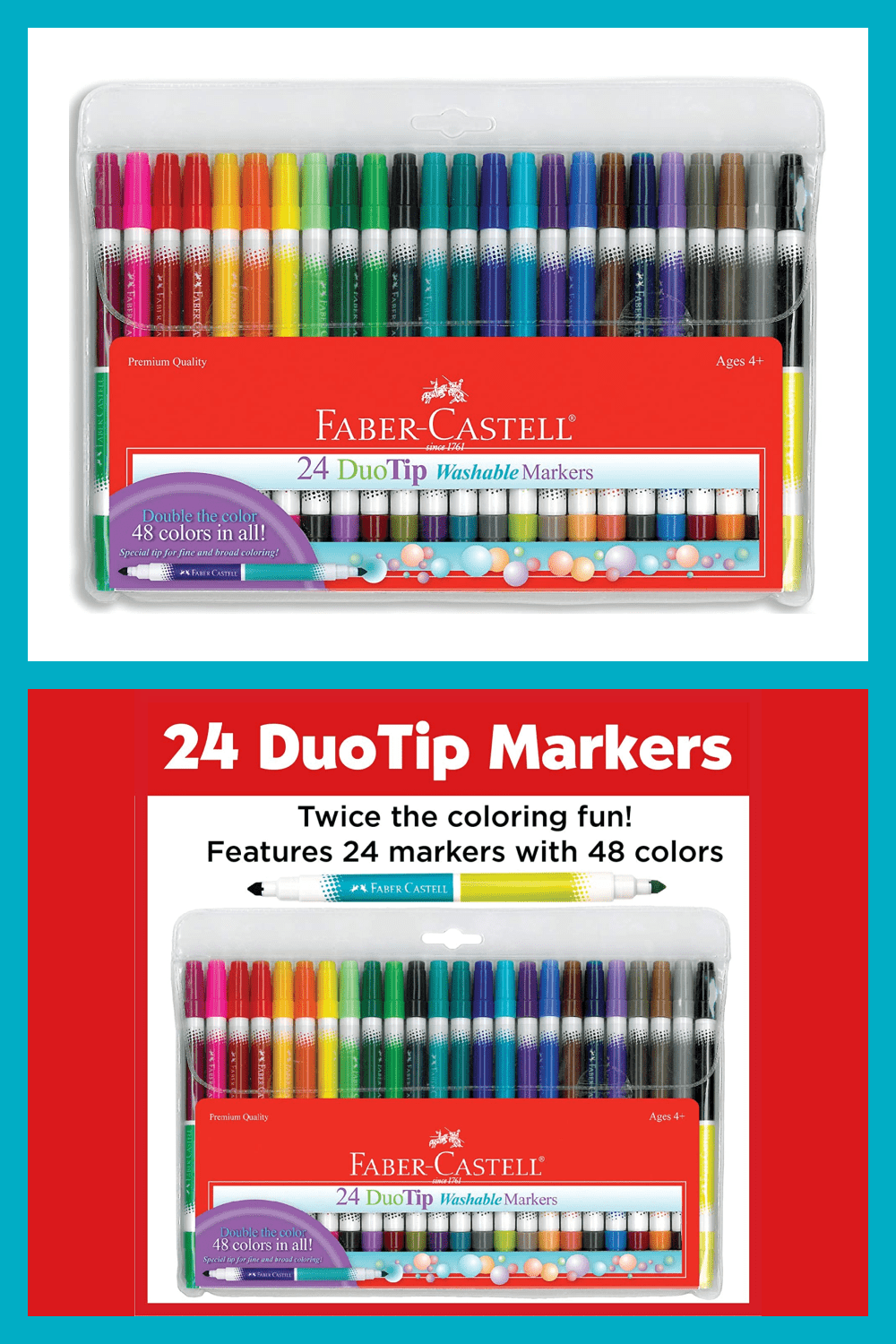 DuoTip Markers mean twice the colors for double the coloring fun. Washable ink is made from food-grade dyes.