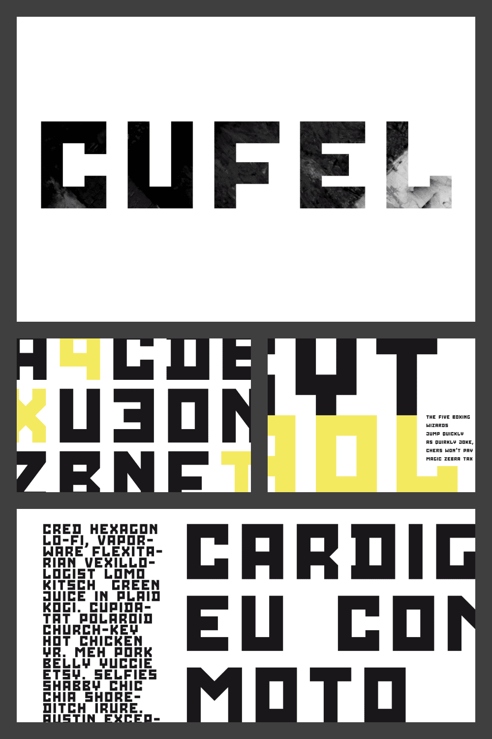 Stylish font with illustration on the font itself.