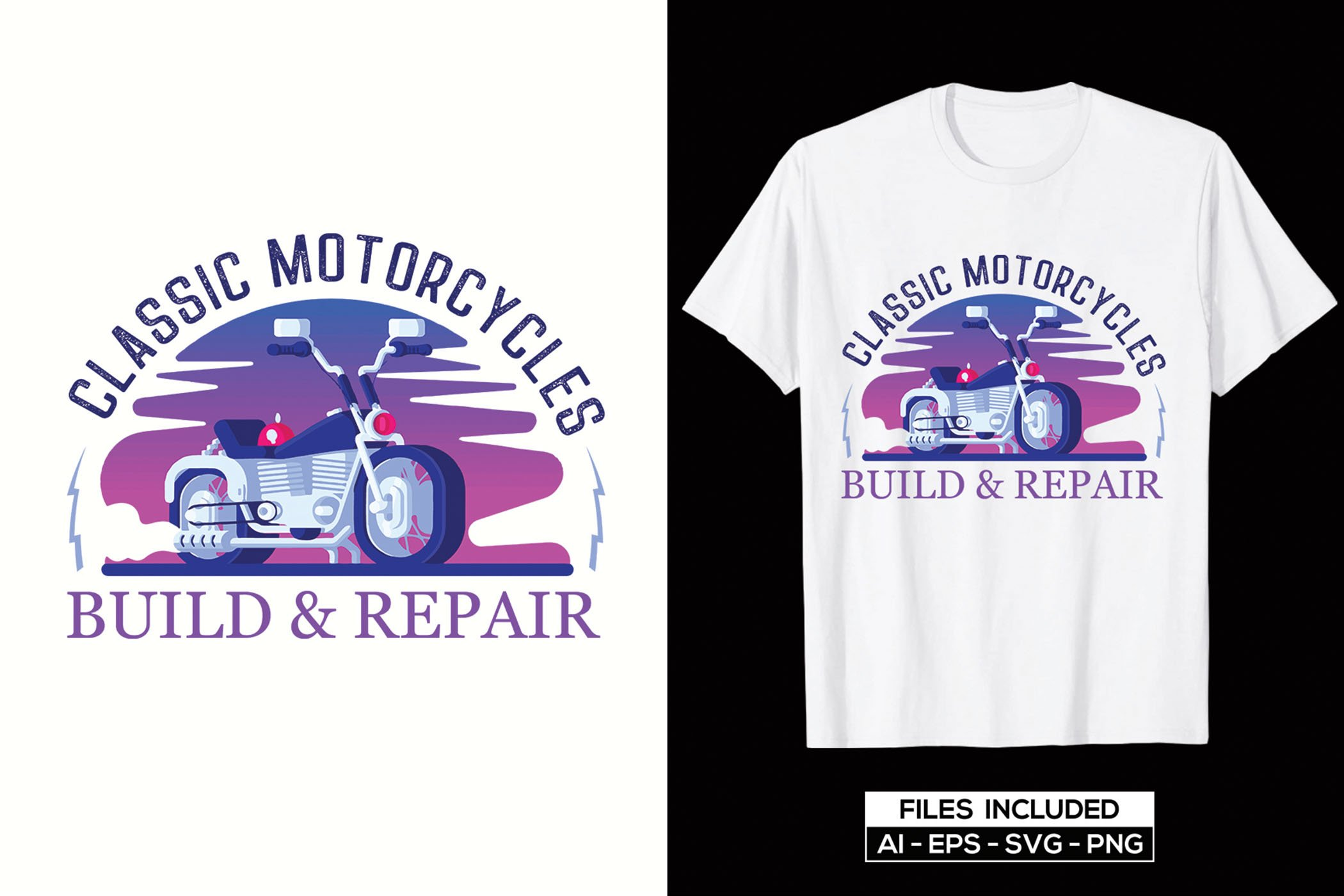 Stylish and high-quality t-shirt with purple illustration of vintage motorcycle.