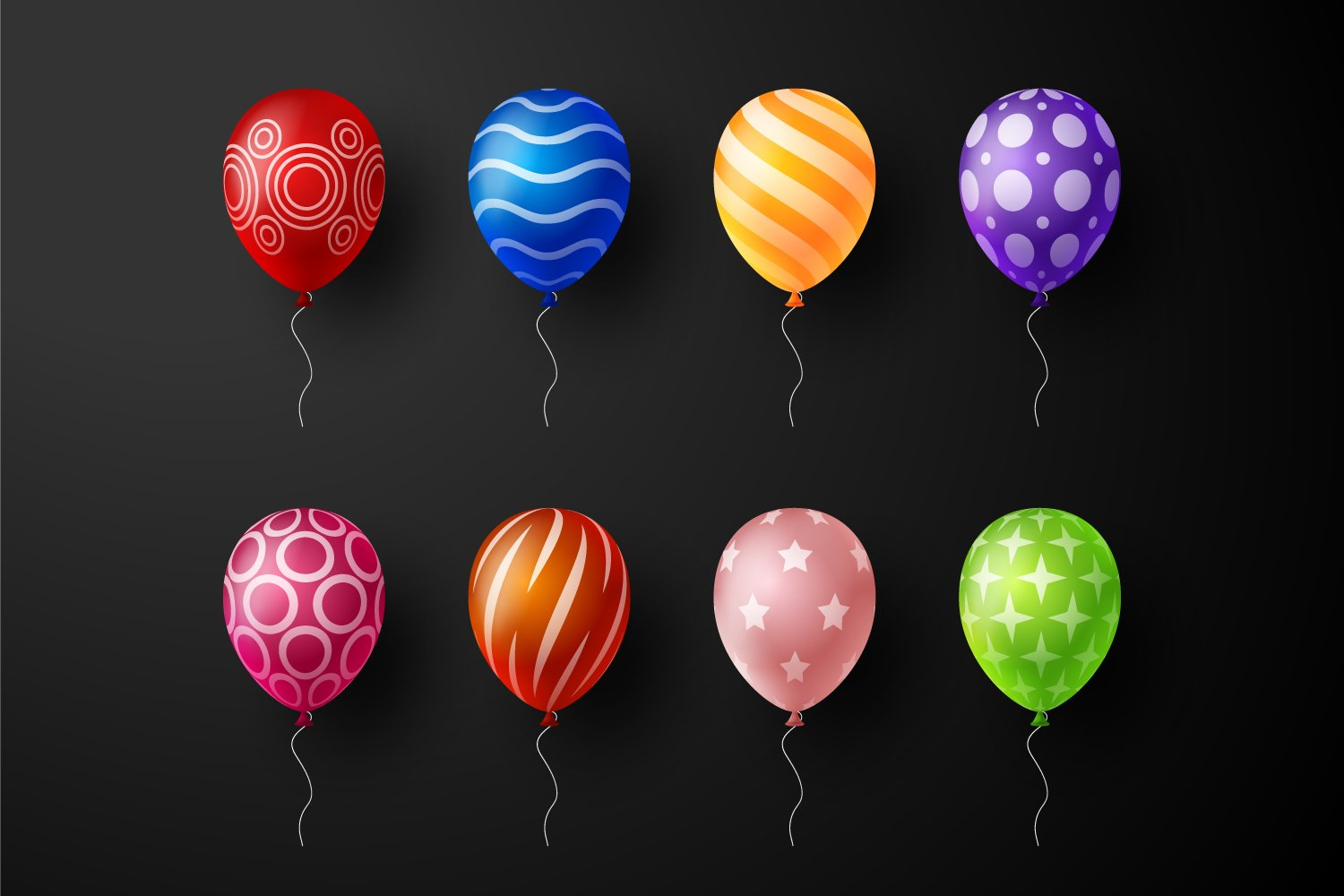 Bright balls with unusual prints on a black background.